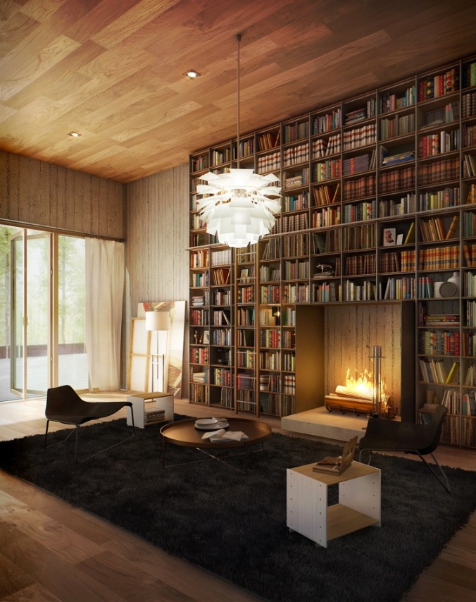 Library-with-Fireplace